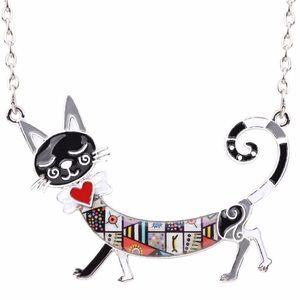 Kitty Cat Necklace Enamel Mosaic Black Silver
